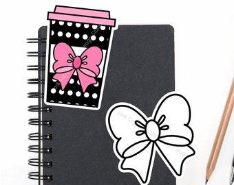 SALE Planner Die Cuts Printable, Coffee Die Cuts, Bow Die Cuts, Polka Dots, Food Die Cuts, Scrapbook Die Cuts, Planner Accessories - Office