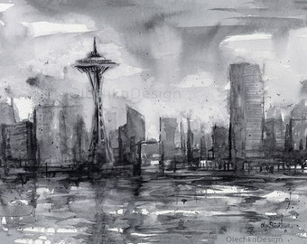 Seattle Skyline Painting, Watercolor, Giclee Art Print, PNW Art, Black and White, City, Space Needle,