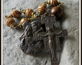 Bronze Wire Wrapped St. Anthony Rosary in Bone & Horn