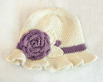 12 to 24m Crochet Sun Hat Baby Hat in Cream and Purple Grape - Crochet Rose Flower Hat Cloche Hat Baby Girl Baby Flapper Girl Prop