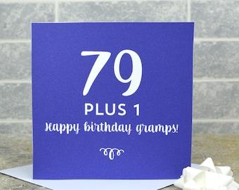 80th birthday card - milestone birthday card, personalised 80th birthday card, card for an 8-th birthday, 79 plus 1