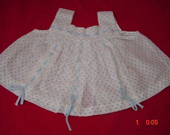 Vintage Diaper Shirt, Blue Dot Cotton, 0-3mo baby, very good cond