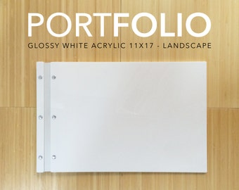 11x17 landscape White Acrylic Portfolio elegant modern folder for student photographer architect graphic designer portfolio case
