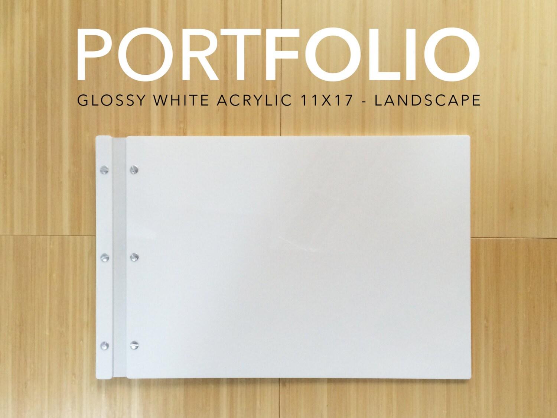 11x17 landscape White Acrylic Portfolio elegant modern folder