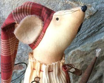 Mouse Night Time Mouse primitive rustic mouse with Homespun Cap; cabin decor; Team HAHA, Hafair, ofg, mha, ado, nooga, ellijay