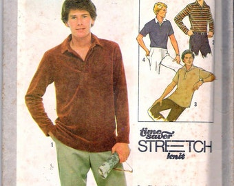 """Vintage 1978 Simplicity 8798 Men's Pullover Top Stretch Knit Sewing Pattern Size 38,40,42 Chest 38"""", 40"""", 42"""" UNCUT"""