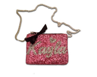 Girl Gifts Personalized Pink Crossbody Bag for Girls Pink Glitter Bag with Name Small Bag Shoulder Strap