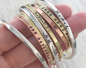 """Armed with Truth - 1/8"""" hand stamped cuff bracelets  - copper silver brass - Christian Jewelry - scripture bracelet"""