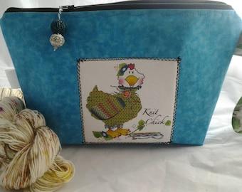 Knit chick bag, Wedge bag, Project bag, Knitting bag