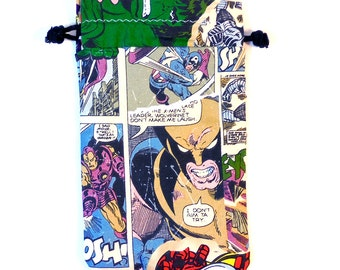 XL Marvel Comics Drawstring Wolverine comic  Dice Bag for Cell phones, Nintendo DS XL, Dice, cards, or anything!