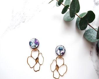 Flower Dangle Earrings, Statement Gold Earrings, Floral Statement Earrings, Anemone Flower Earrings, Summer Earrings, Minimal Earrings