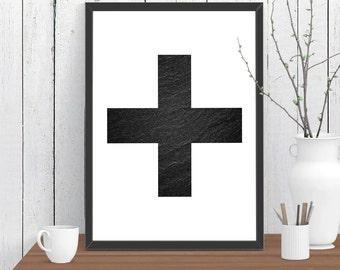 Stone Swiss Cross Scandinavian style Print, Wall Art, Room Decor, Modern, Minimalist, Poster A4 A3 A2 8x10 11x14 12x18 16x20