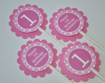 Girls 1st Birthday Cupcake Toppers, Pink and White Polkadot Party, Personalized Party Supplies, Cupcake Picks - Set of 12