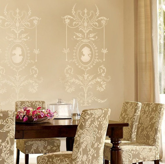 Wall stencil Marie-Antoinette Grand Panel amazing detail