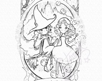 Wicked Elphaba and Glinda - DIGITAL STAMP Instant Download