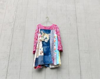 Tshirt Dress, Cat, Swing, Loose Fit, Upcycled Clothing, Summer Dress, Tunic, Upcycled Dress, Blue, Romantic, Boho, Simple, Aline