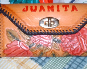 Tooled red roses Clutch Organizer Purse for Juanita