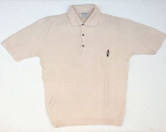 ARROW Inlay Patterned 60s Style Polo. Sz L. USA.