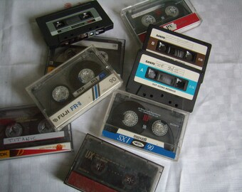 Vintage audio cassette tape 1980 - 90, set of 6 tapes, records, RS
