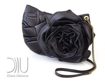 Black Leather CLUTCH BAG | Floral Clutch Bag | Flower Clutch Bag | Black Clutch Bag | Leather Clutch Bag | Floral Clutch | Black Clutch Rose