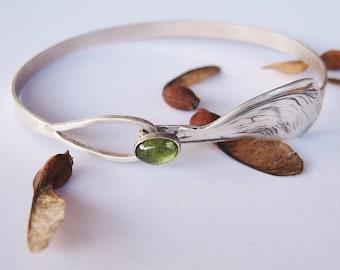 Living Green Clasping Bracelet , Maple Seed, maple wing jewelry, cuff bracelet, sterling cuff bracelet, Peridot gemstone, gem cuff bracelet