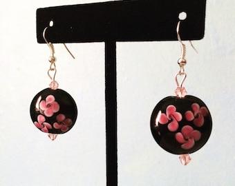 Black cherry blossom floral earrings