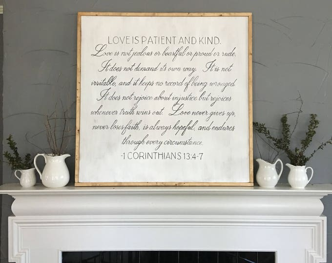 Hand Painted Framed Wooden Sign with Scripture 1 Corinthians 13:4-7 Love is Patient and Kind Bible Verse