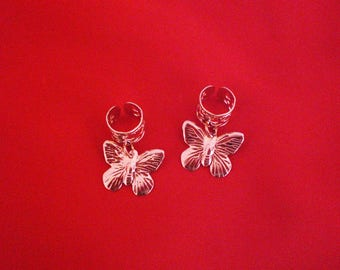 2 hair jewelry for pigtails, ponytail etc Butterfly gold