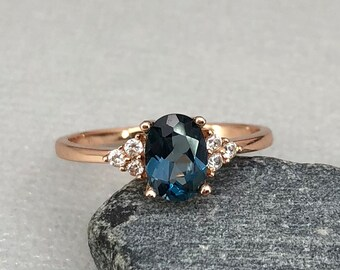 14K Solid Rose Gold Oval London Blue Topaz Diamond Simulated Dainty Stone Three Stone Engagement Wedding Promise Ring