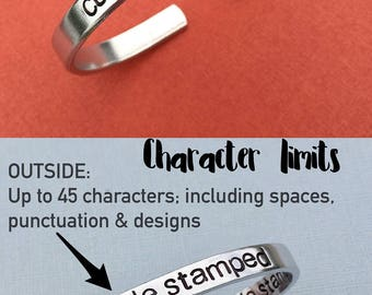 Custom Hand Stamped Jewelry, Aluminum Cuff Bracelet, Personalize Gift, You Choose Letters, Wedding Gift, Reunion Family Group Cheer Camp