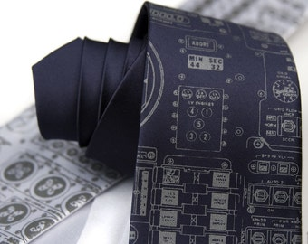 "Apollo Cockpit men's necktie. Narrow or standard width. ""Rocket Science"" tie. Silkscreened dove gray ink."