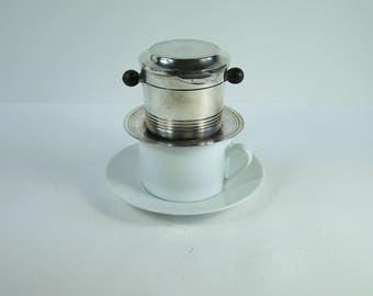 Single Art Deco drip coffee maker for 1 cup 1930 silver plated filter coffee maker vintage  Made in France