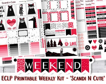 ECLP Sticker Kit, ECLP Weekly Sticker Kit, Scandinavian Style, Red and Black, Erin Condren vertical, Printable Planner Kit,  Free Cut File