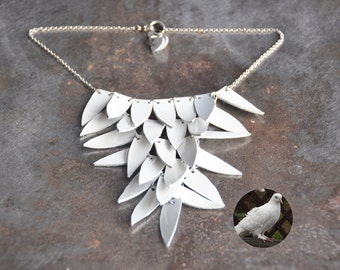 White bird wing necklace - white statement necklace in patent leather - white bib necklace - Geometric - Feather necklace - White necklace