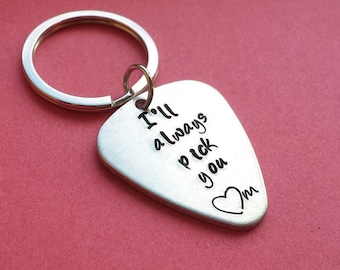 I'll always pick you personalized hand stamped keychain with personalized initial, guitar pick keychain, hand stamped, Valentine's keychain