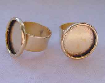 4 Ring Blanks Adjustable Wide Band Large Circle Antiqued Gold Plated  ND210