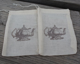 Set of 10 Hand stamped Tea Pot Muslin Party Favor Bags 100% organic made in america