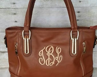 Vegan Leather Handbag, Brown Vegan Purse, Brown Monogram Purse, Personalized Tote, Monogrammed Bag, Personalized Handbag, Faux leather purse