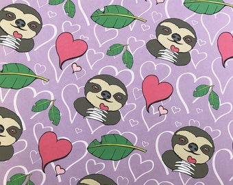 Sloth Love & Hearts Gift Wrapping Paper
