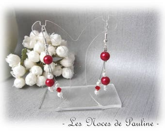 Earrings red and ivory collection 'Tradition' wedding v1