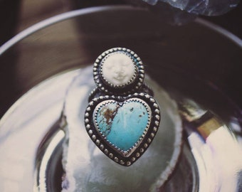 Kingman Turquoise Heart & Moon Face Ring, Handcrafted Sterling Silver Statement Ring, Turquoise and Buffalo Bone Ring, Turquoise Jewelry