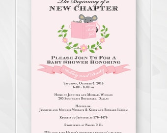 Pink Book Baby Shower Invitation, Mouse Stock the Library Story Book Shower, Book Baby Shower, Baby Girl Invite, Printable Invitation #0108