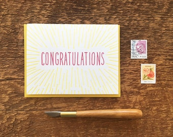 Congratulations Beams, Letterpress Note Card, Blank Inside