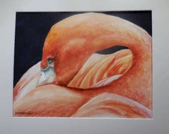 Original Flamingo Watercolor, Florida bird, beach painting,