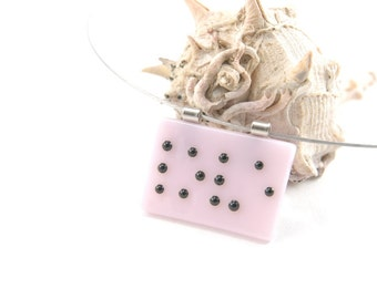 Petal pink Braille love fused glass pendant necklace, black letters/dots on pale pink - MADE TO ORDER