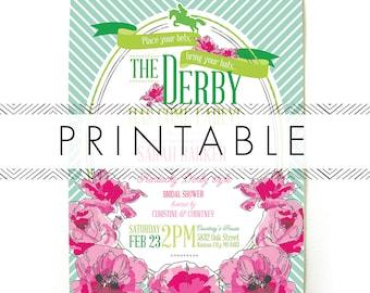 Derby Bridal Shower Invitation Printable in Pink