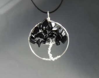 Onyx tree of life necklace, black healing stone OOAK jewelry, silver plated jewelry, handmade gift for women