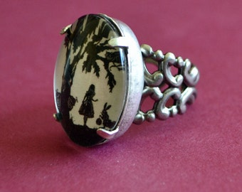 ALICE IN WONDERLAND Ring - Silhouette Jewelry