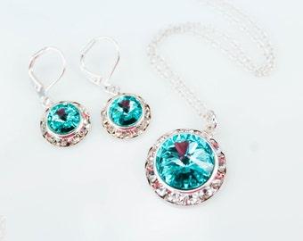 Teal Bridesmaid Jewelry - Flower Girl Jewelry Set - Aqua Bridesmaid Jewelry - Diamond Bridal Earring - Teal Bridal Earring - Blue Bridesmaid