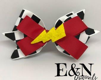 Racing hair bow - lightning hair bow - racecar hair bow - racing bow - Lightning bow